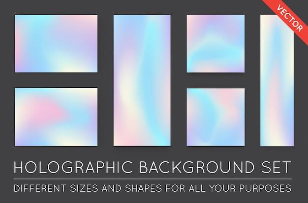 Ensemble d'arrière-plans tendance holographique. peut être utilisé pour la couverture, le livre, l'impression, la mode.