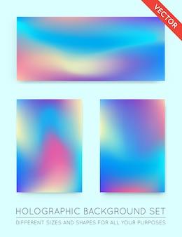 Ensemble d'arrière-plans tendance holographique.