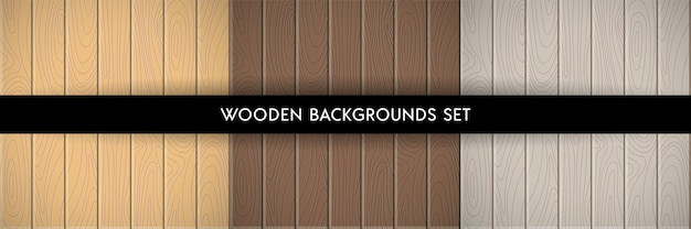 Ensemble d'arrière-plans texturés en bois.