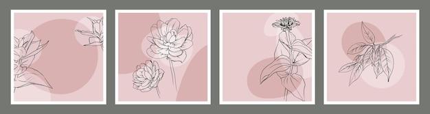 Ensemble d'arrière-plans vectoriels carrés avec des fleurs sauvages, des plantes, des lotus et des feuilles.