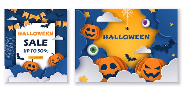 Ensemble d'arrière-plans de vente halloween. illustrations.