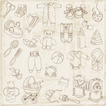 Ensemble d'arrivée pour bébé scrapbook design elements