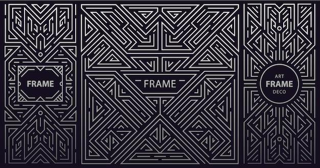 Ensemble d & # 39; art déco abstrait, formes de lignes vintage géométriques, rétro