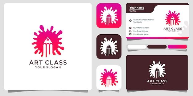 Ensemble d'art d'étude de logo, cours d'art, peinture et dessin. image de logo d'illustration de conception vectorielle premium