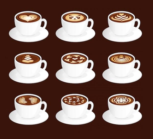 Ensemble d'art latte sur des tasses
