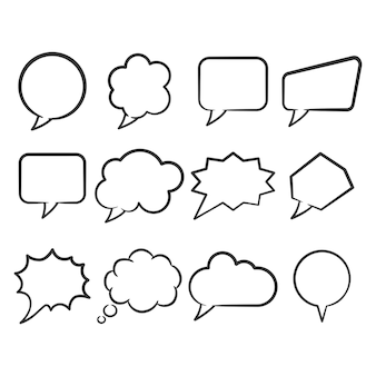 Ensemble d'art de ligne de bulle de discours