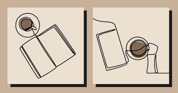 Ensemble d'art en ligne continue pour le café et le livre