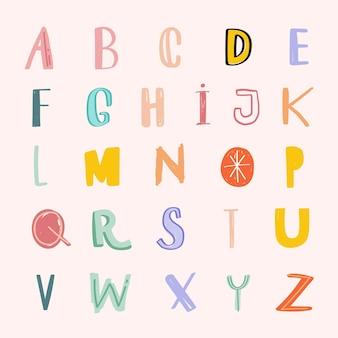 Ensemble d'art de mot alphabet doodle pastel