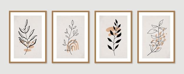 Ensemble d'art mural botanique abstrait collection d'affiches d'art contemporain art mural minimal et naturel