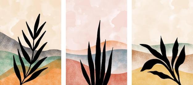 Ensemble D'art Mural Botanique Abstrait, Feuilles, Branche Boho. Vecteur Premium