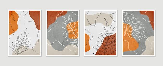Ensemble d'art mural botanique. art mural minimal et naturel. dessin au trait boho feuillage avec forme abstraite.