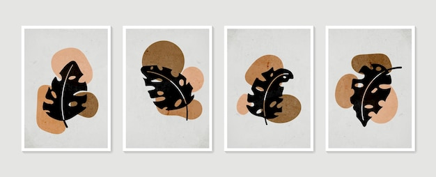 Ensemble d'art mural botanique art mural minimal et naturel dessin de feuillage boho avec forme abstraite