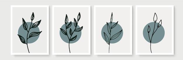 Ensemble d'art mural botanique. dessin au trait de feuillage boho ton terre avec forme abstraite. conception d'art abstrait végétal pour impression, couverture, papier peint, art mural minimal et naturel