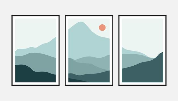 Ensemble d'art mural de montagne abstrait naturel. impression d'art minimaliste moderne du milieu du siècle