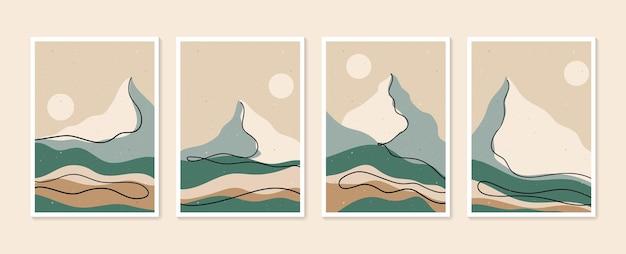 Ensemble d'art mural de montagne fond de paysages de tons de terre de vecteur sertie de lune et de soleil
