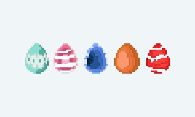 Ensemble d'art pixel d'oeuf de pâques fantastique.