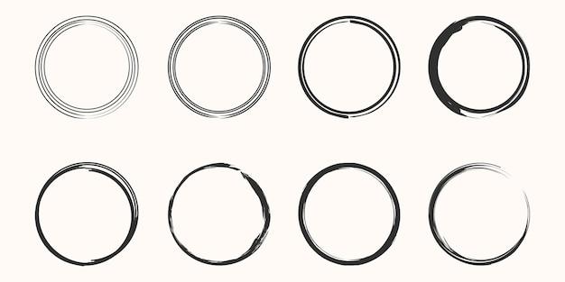Ensemble d'art vectoriel minimaliste cercle zen noir