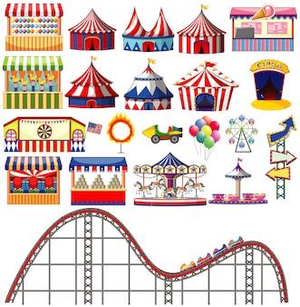 Ensemble d'articles de cirque sur fond blanc