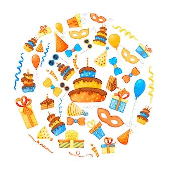 Ensemble d'articles de fête colorés sur fond blanc. événement de célébration joyeux anniversaire. multicolore. vecteur.