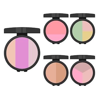 Ensemble d'articles de maquillage. cinq ombres à paupières lumineuses avec miroir. illustration vectorielle.
