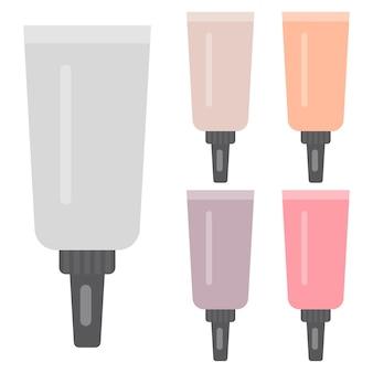 Ensemble d'articles de maquillage. cinq tubes cosmétiques lumineux. illustration vectorielle.