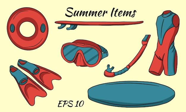 Un ensemble d'articles nécessaires pour les sports nautiques. style de bande dessinée.
