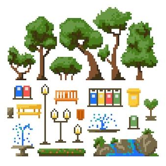Ensemble d'articles pour le parc isolé sur fond blanc. illustration vectorielle dans le style pixel art.