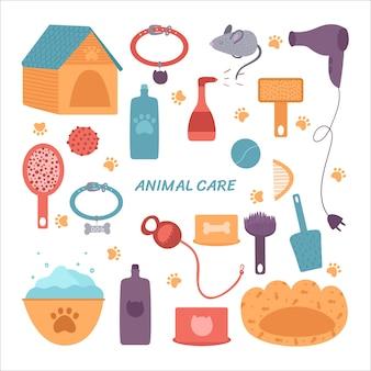Un ensemble d'articles de soins pour animaux de compagnie.