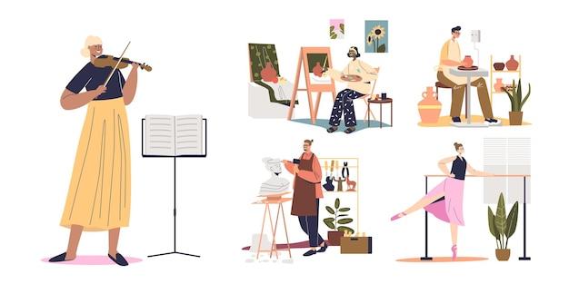 Ensemble d'artistes aux métiers créatifs : jouer du violon, faire de la poterie, sculpter, danser le ballet, peindre
