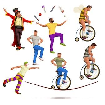 Ensemble d'artistes de cirque
