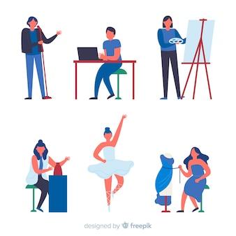 Ensemble d'artistes de différentes disciplines. peintre, danseur, artisan et couturier