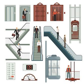 Ensemble ascenseur et escalier