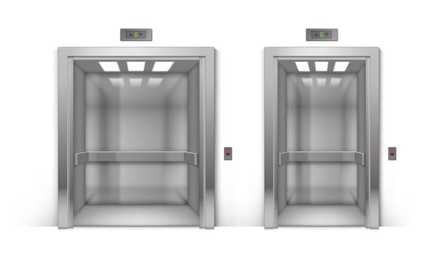 Ensemble d'ascenseur d'immeuble de bureaux en métal chromé ouvert réaliste isolé sur fond