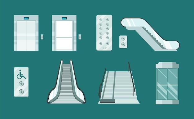 Ensemble d'ascenseurs et d'escaliers mécaniques.