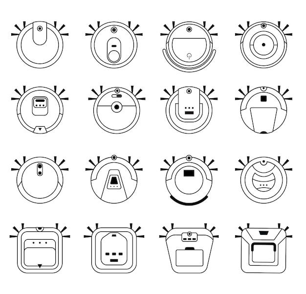 Ensemble d'aspirateurs robots. matériel de nettoyage ménager. illustration vectorielle dans le style de contour