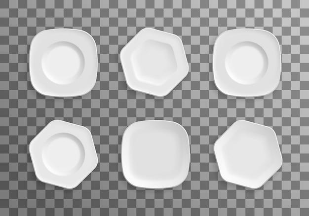 Ensemble d'assiettes blanches, bols, plats.