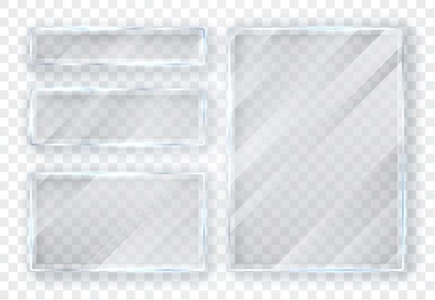 Ensemble d'assiettes en verre. bannières en verre sur fond transparent.