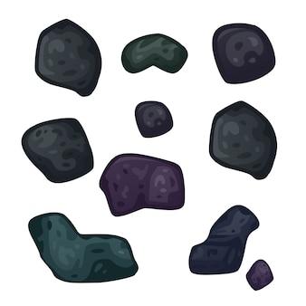 Ensemble d'astéroïdes isolés sur blanc.