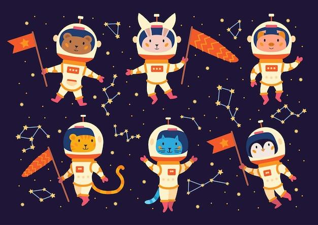 Ensemble d'astronautes animaux en combinaisons spatiales