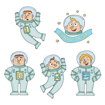 Ensemble d'astronautes de couleur dessin animé isolé sur blanc.
