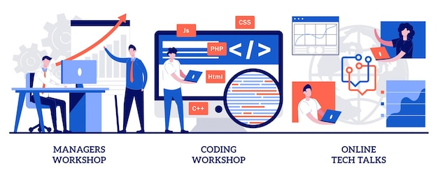 Ensemble d'ateliers de gestionnaires, atelier de codage, discussions technologiques en ligne, éducation numérique informatique