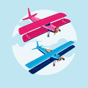 Ensemble d'attractions biplan ou avion premium