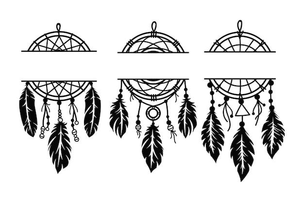 Ensemble d'attrape-rêves monogramme ethnique