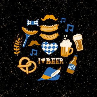 Ensemble d'attributs de fête de la bière sur fond grunge.
