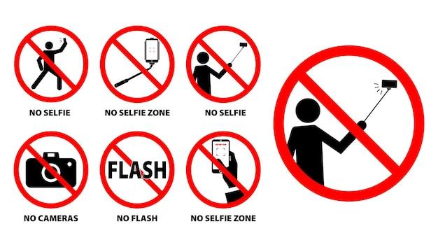 Ensemble d'aucune zone de selfie ou signe d'interdiction de selfie vecteur eps