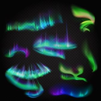 Ensemble d'aurores boréales vectorielles réalistes. incroyable aurore boréale nuit ciel polaire sur fond transparent alpha