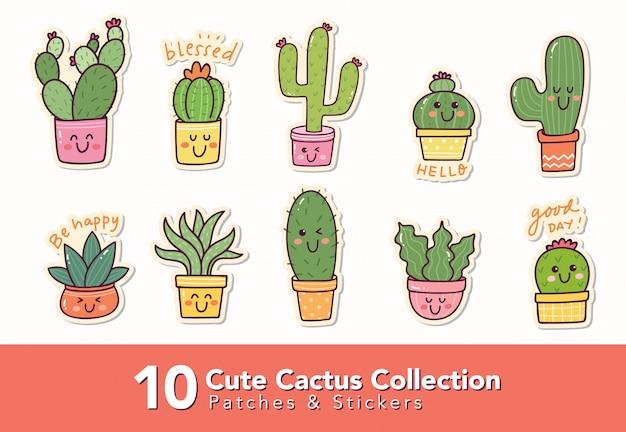 Ensemble d'autocollant de cactus