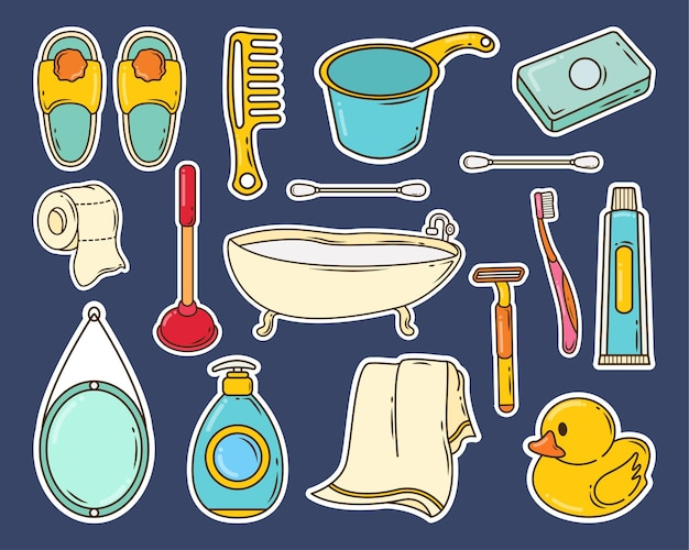 Ensemble d'autocollant de doodle de dessin animé de salle de bain dessiné à la main