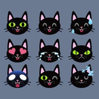 Ensemble d'autocollant émoticône chat noir isolé