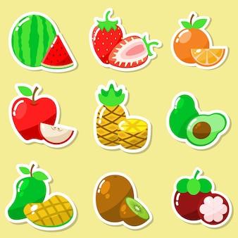 Ensemble d'autocollant de fruits frais